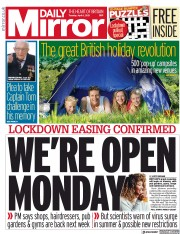 Daily Mirror (UK) Newspaper Front Page for 6 April 2021