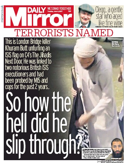 Daily Mirror Newspaper Front Page (UK) for 6 June 2017