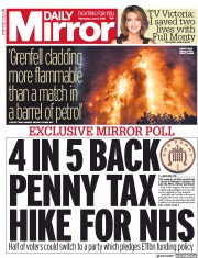 Daily Mirror (UK) Newspaper Front Page for 6 June 2018