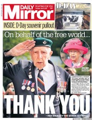 Daily Mirror (UK) Newspaper Front Page for 6 June 2019