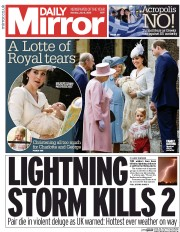 Daily Mirror (UK) Newspaper Front Page for 6 July 2015