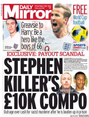 Daily Mirror (UK) Newspaper Front Page for 6 July 2018