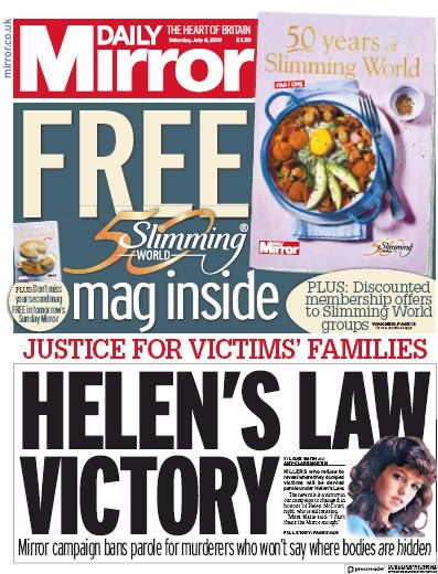 Daily Mirror Newspaper Front Page (UK) for 6 July 2019