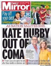 Daily Mirror front page for 6 July 2020