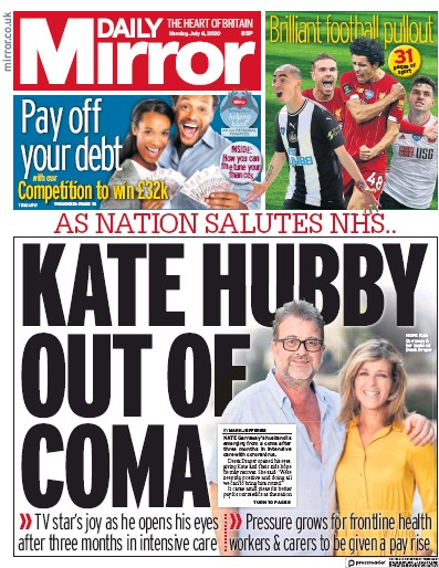 Daily Mirror Newspaper Front Page (UK) for 6 July 2020