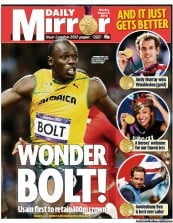 Daily Mirror Newspaper Front Page (UK) for 6 August 2012