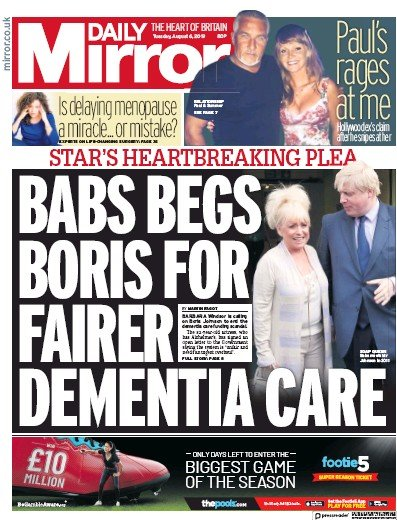 Daily Mirror Newspaper Front Page (UK) for 6 August 2019