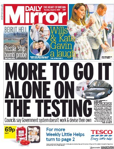 Daily Mirror Newspaper Front Page (UK) for 6 August 2020