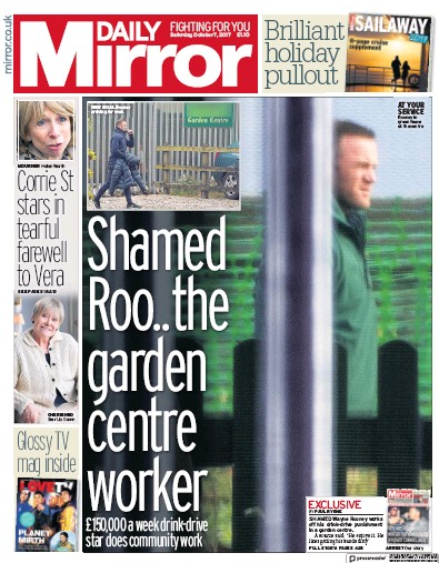 Daily Mirror Newspaper Front Page (UK) for 7 October 2017