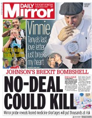 Daily Mirror () Newspaper Front Page for 7 October 2019
