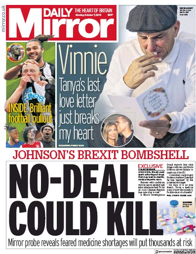 Daily Mirror Newspaper Front Page (UK) for 7 October 2019