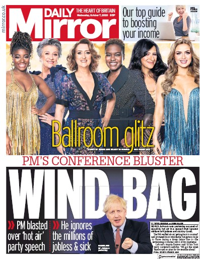 Daily Mirror Newspaper Front Page (UK) for 7 October 2020