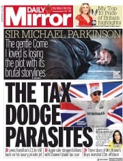 Daily Mirror (UK) Newspaper Front Page for 7 November 2017