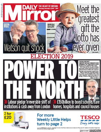 Daily Mirror Newspaper Front Page (UK) for 7 November 2019