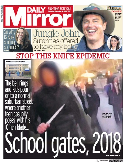 Daily Mirror Newspaper Front Page (UK) for 7 December 2018