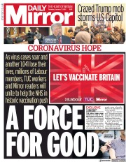 Daily Mirror front page for 7 January 2021