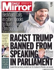 Daily Mirror (UK) Newspaper Front Page for 7 February 2017