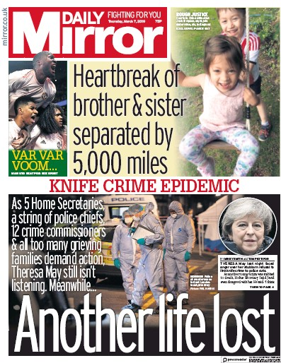Daily Mirror Newspaper Front Page (UK) for 7 March 2019
