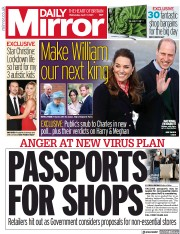 Daily Mirror () Newspaper Front Page for 7 April 2021