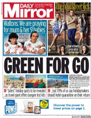 Daily Mirror front page for 7 May 2021