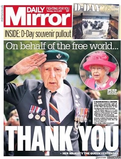 Daily Mirror Newspaper Front Page (UK) for 7 June 2019