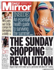 Daily Mirror (UK) Newspaper Front Page for 7 July 2015