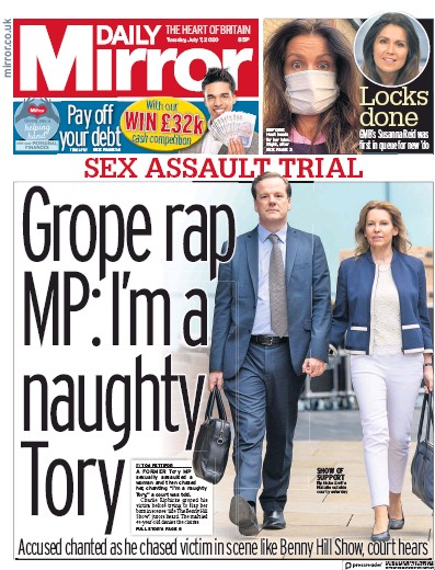 Daily Mirror Newspaper Front Page (UK) for 7 July 2020