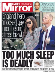Daily Mirror (UK) Newspaper Front Page for 7 August 2018