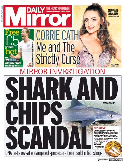 Daily Mirror Newspaper Front Page (UK) for 7 September 2019