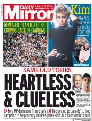 Daily Mirror front page for 7 September 2020
