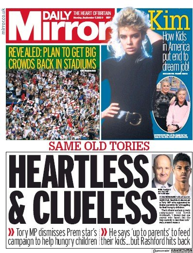 Daily Mirror Newspaper Front Page (UK) for 7 September 2020