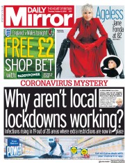 Daily Mirror front page for 8 October 2020