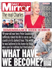 Daily Mirror (UK) Newspaper Front Page for 8 November 2018