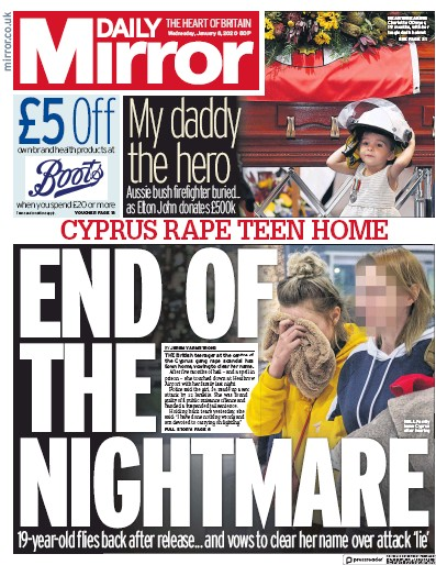 Daily Mirror Newspaper Front Page (UK) for 8 January 2020