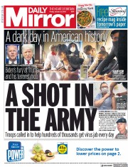 Daily Mirror front page for 8 January 2021