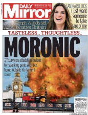 Daily Mirror (UK) Newspaper Front Page for 8 February 2016