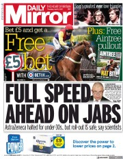 Daily Mirror () Newspaper Front Page for 8 April 2021