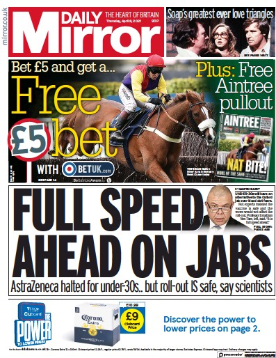 Daily Mirror Newspaper Front Page (UK) for 8 April 2021