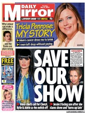 Daily Mirror Newspaper Front Page (UK) for 8 May 2012