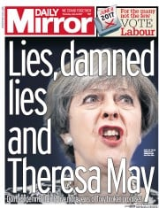 Daily Mirror (UK) Newspaper Front Page for 8 June 2017
