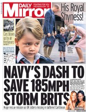 Daily Mirror (UK) Newspaper Front Page for 8 September 2017