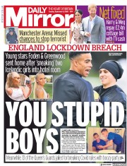 Daily Mirror front page for 8 September 2020