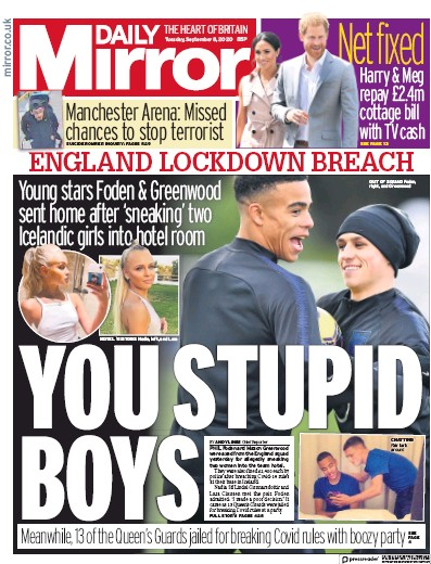 Daily Mirror Newspaper Front Page (UK) for 8 September 2020