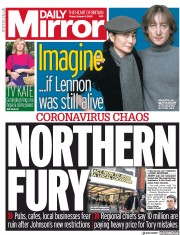 Daily Mirror front page for 9 October 2020