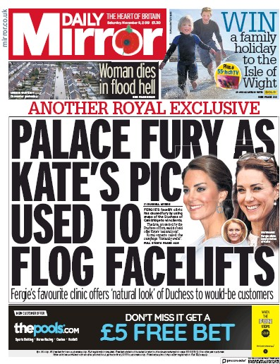 Daily Mirror Newspaper Front Page (UK) for 9 November 2019