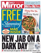 Daily Mirror front page for 9 January 2021
