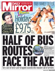 Daily Mirror () Newspaper Front Page for 9 February 2019