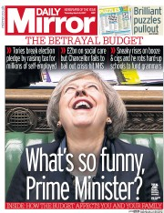 Daily Mirror (UK) Newspaper Front Page for 9 March 2017