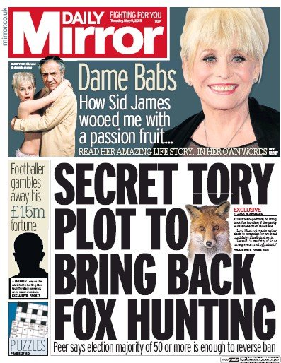 Daily Mirror Newspaper Front Page (UK) for 9 May 2017