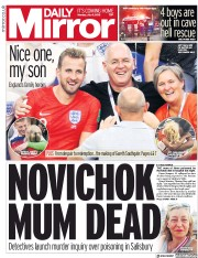 Daily Mirror (UK) Newspaper Front Page for 9 July 2018